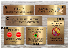 Gold Hand-washing / Use hand sanitiser bathroom door wall metal signs: custom-made at www.honeymellow.com