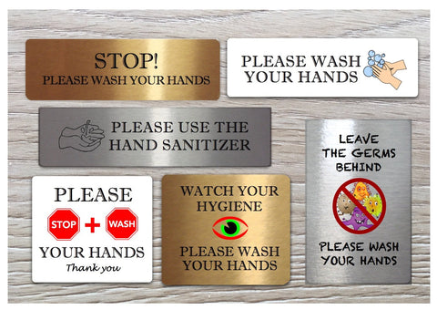 Vital Signs: Hand-washing Sanitiser Metal Signs in Silver, Gold or White
