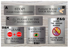 Silver Hand-washing / Use hand sanitiser bathroom door wall metal signs: custom-made at www.honeymellow.com