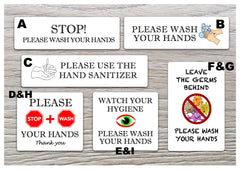 White Hand-washing / Use hand sanitiser bathroom door wall metal signs: custom-made at www.honeymellow.com