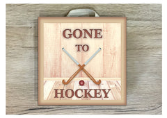 Gone to Hockey personalised hanging sign in wood or metal.  Handmade at www.honeymellow.com
