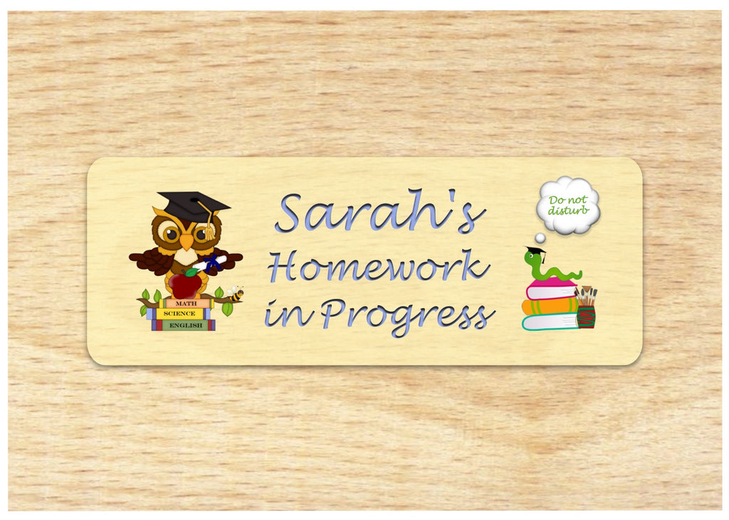 Homework in Progress Personalised Door Sign Online at Honeymellow