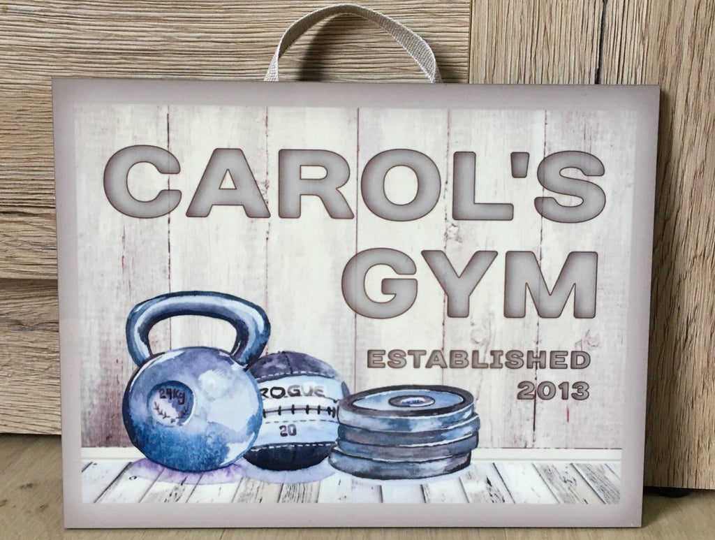 Cream Rustic Personalised Gym Sign Custom Made at www.honeymellow.com