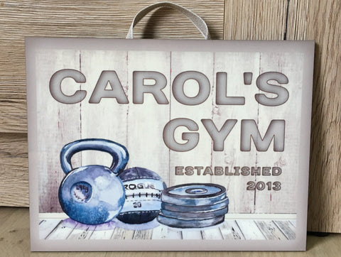 Gym Room Personalised Cream Rustic Fitness Studio Metal or Wood Sign