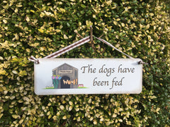DOG HAS BEEN FED Double-Sided Personalised Sign at Honeyemllow