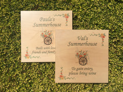 MAPLE WOOD Summerhouse Sign: Bespoke Personalised Wall Plaque