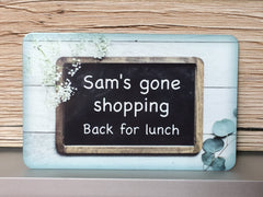 Personalised Chalkboard effect sign for quotes and messages.  Hanging custom-made sign from www.honeymellow.com