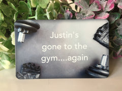 Wood or metal gym weight training sign. Add your own text at www.honeymellow.com
