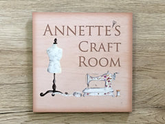 Add wording to Craft or Sewing Room Door Sign in Wood or Metal at www.honeymellow.com
