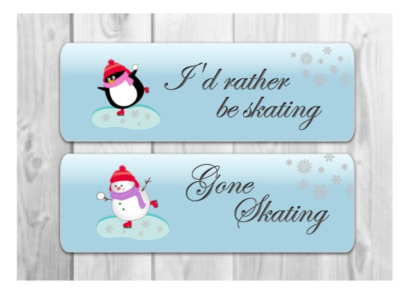 Gone skating or I'd rather be skating penguin and snowman signs at Honeymellow