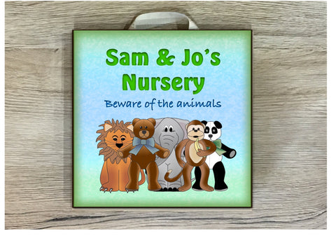 Personalise Jungle Children's Room Cheeky Animal Sign