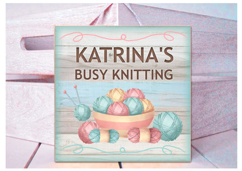 Knitting Room Personalised Sign in Wood or Metal: Add Your Own Text