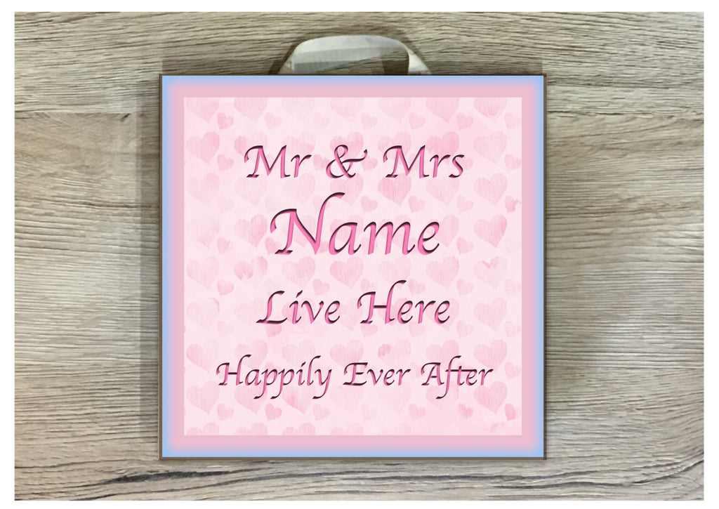 Mr & Mrs Personalised Bespoke Sign at www.honeymellow.com