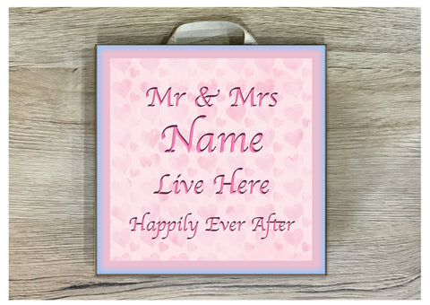 Mr & Mrs Love Heart Custom Made Personalised Sign