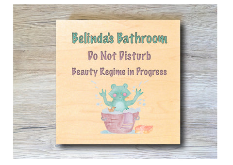 MAPLE WOOD Bathroom Square Sign: Bespoke Personalised Wall Plaque
