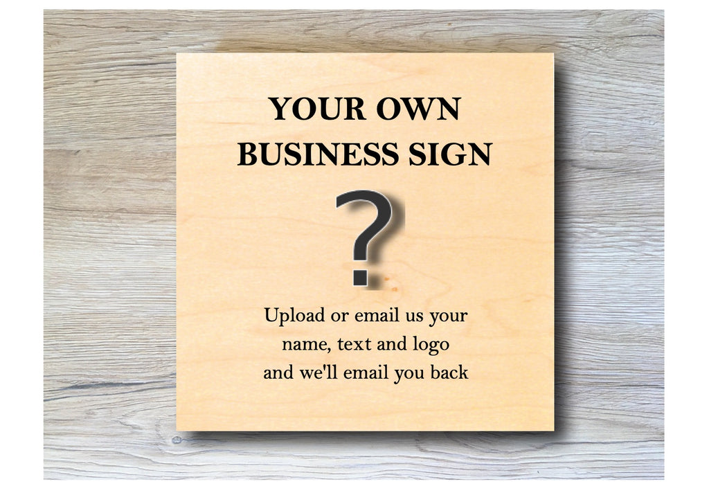 MAPLE WOOD Business Square Sign: Bespoke Personalised Wall Plaque