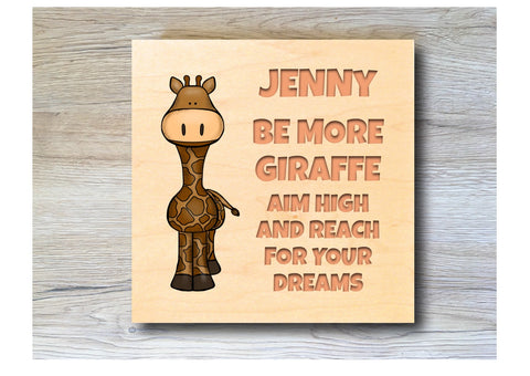MAPLE WOOD Giraffe Square Sign: Bespoke Personalised Wall Plaque