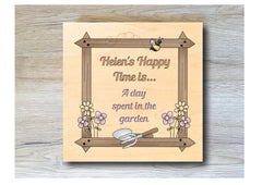 MAPLE WOOD Happy Days are Flowers Square Sign: Bespoke Personalised Wall Plaque