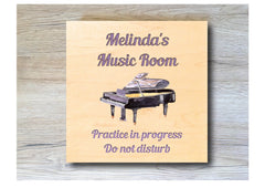 MAPLE WOOD Happy Days are Playing Piano Square Sign: Bespoke Personalised Wall Plaque