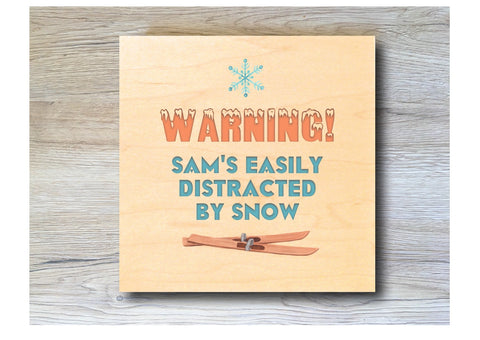 MAPLE WOOD Ski Square Snow Sign: Bespoke Personalised Wall Plaque