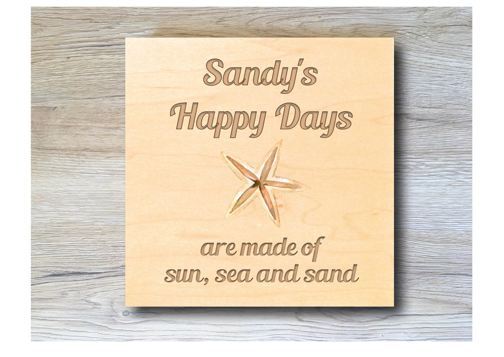 MAPLE WOOD Happy Days are Sun Sea and Sand Square Sign: Bespoke Personalised Wall Plaque