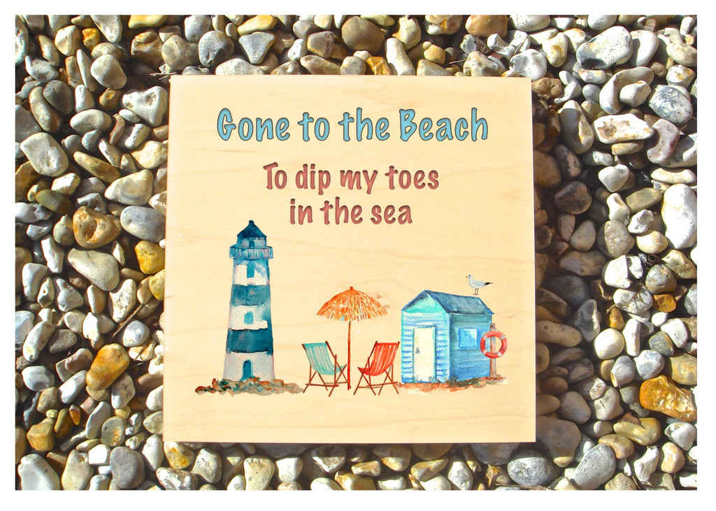 Gone to the Beach personalised hanging rustic maple wood sign at Honeymellow