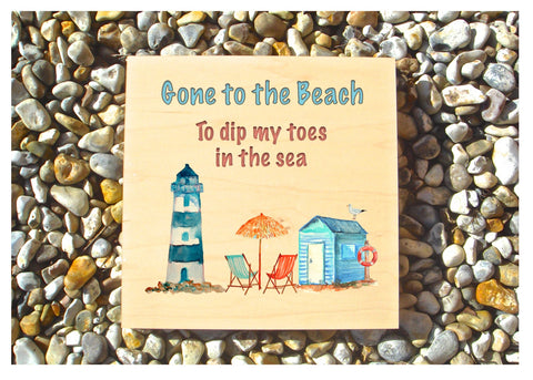 MAPLE WOOD Beach Square Sign: Bespoke Personalised Wall Plaque