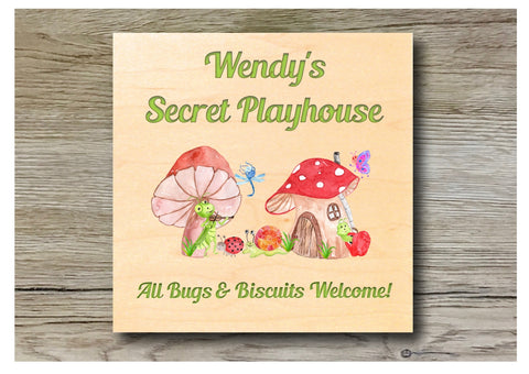 MAPLE WOOD Bug Toadstool House Sign: Bespoke Personalised Wall Plaque