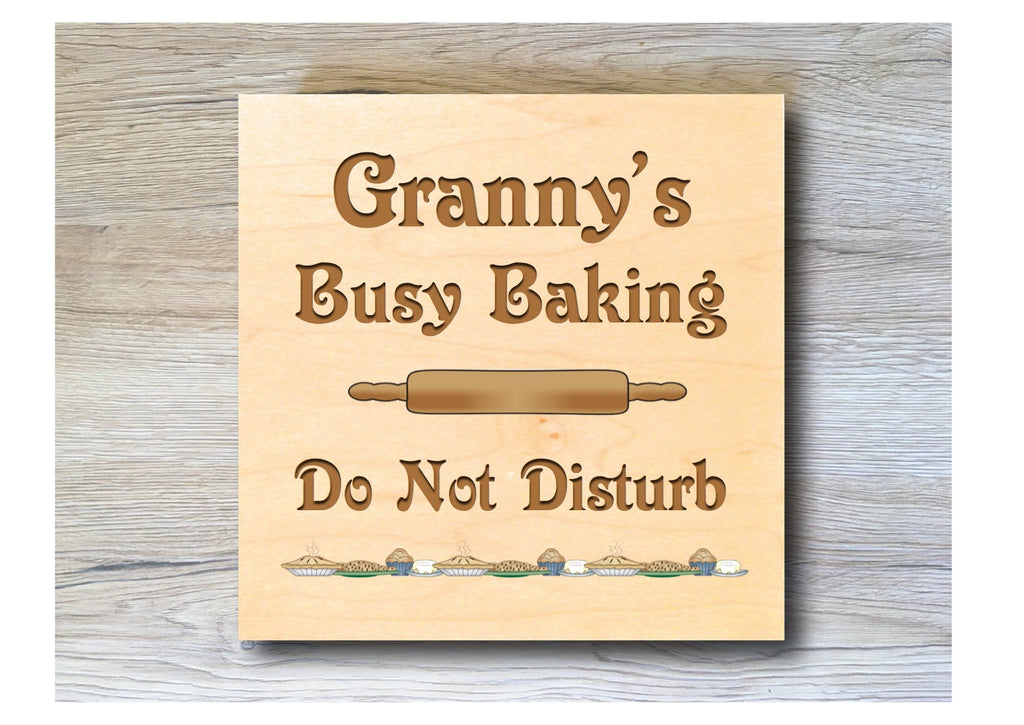 Busy Baking personalised hanging rustic maple wood sign at Honeymellow