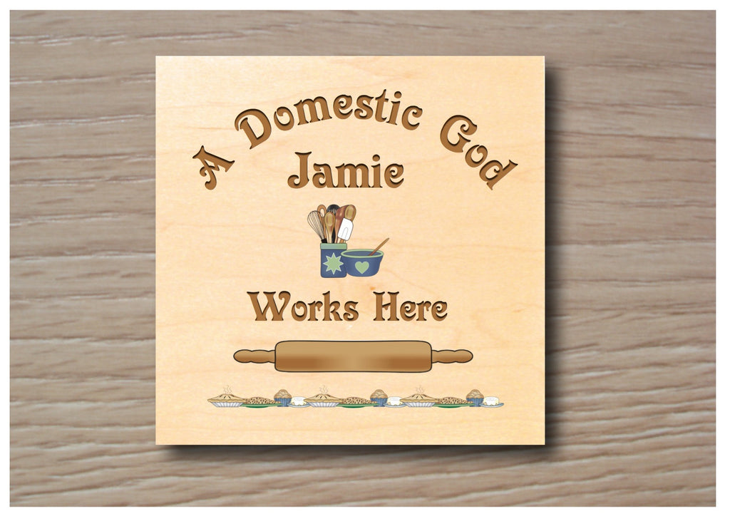 Domestic God personalised hanging rustic maple wood sign at Honeymellow