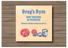 Gym personalised hanging rustic maple wood sign at Honeymellow