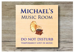Music room maple wood sign at www.honeymellow.com