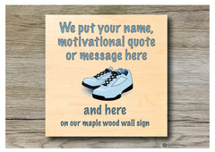 Running quote personalised hanging rustic maple wood sign at Honeymellow