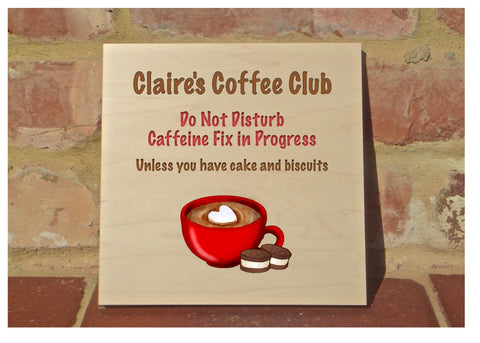 MAPLE WOOD Coffee Club Square Sign: Bespoke Personalised Wall Plaque