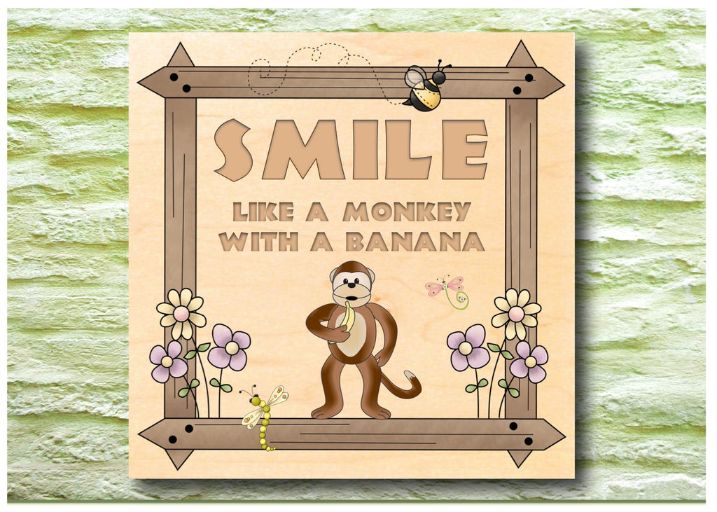 Smile like a Monkey with a Banana personalised hanging rustic maple wood sign at Honeymellow