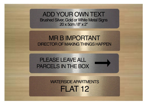 "Personalise Medium 20x5cm / 8x2"" Blank Silver, Gold & White Signs"