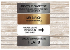 Personalise Small Brushed Metal Sign in Gold, Silver or White at Honeymellow