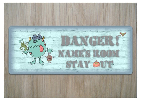 Monster Bedroom Door Sign with Personalised Option