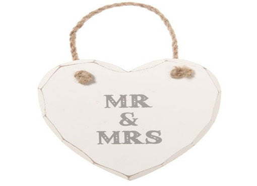 Mr & Mrs Hanging Heart Sign at Honeymellow