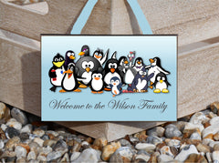 Welcome to Our Family: Fun Penguin Personalised Sign.  Buy Online at www.honeymellow.com