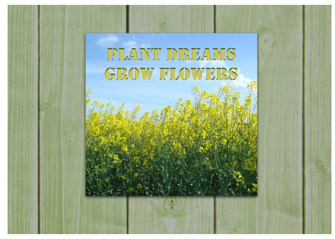 Plant Dreams Grow Flowers: Garden Metal Sign