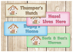 Colour personalised metal bespoke rabbit hutch name signs in cream, pink, blue and green. Buy online at Honeymellow