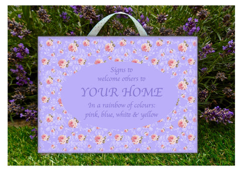 Add Your Own Text to Rainbow Roses Cottage Chic Wood Signs