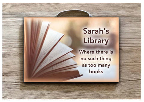Reading Book Sign: Add Text to Custom-Made Personalised Wood or Metal Plaque