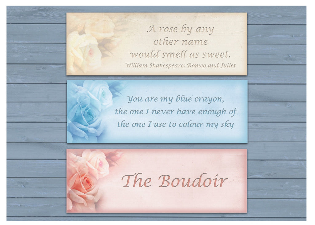Vintage Romance Range of blank signs at www.honeymellow.com to add your own text.