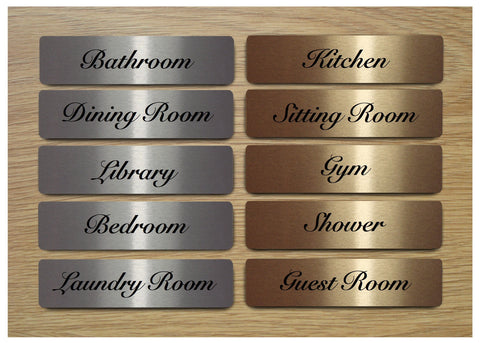 Elegant Room Door Signs in Brushed Silver, Gold or White Metal