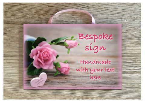 Add Your Own Text to our Rose Heart Blank Sign in Wood or Metal