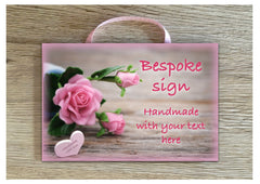 Add Your Own Text to our Rose Heart Blank Sign in Wood or Metal at www.honeymellow.com