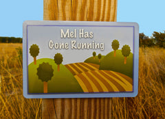 Gone Running Large Customised Hanging Sign at Honeymellow