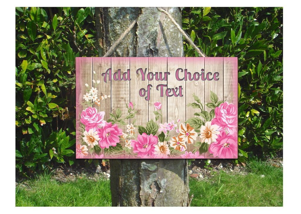 Add Your Own Text to Rustic Floral Blank Signs in Green or Pink